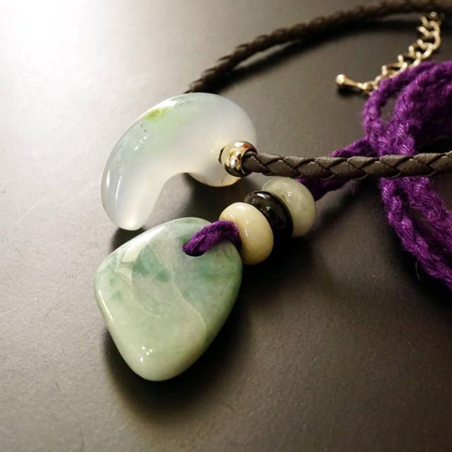 [ お客様オーダー品3 ]糸魚川翡翠ヘンプ紐ネックレスとクリソプレーズ合皮編みチョーカーセット