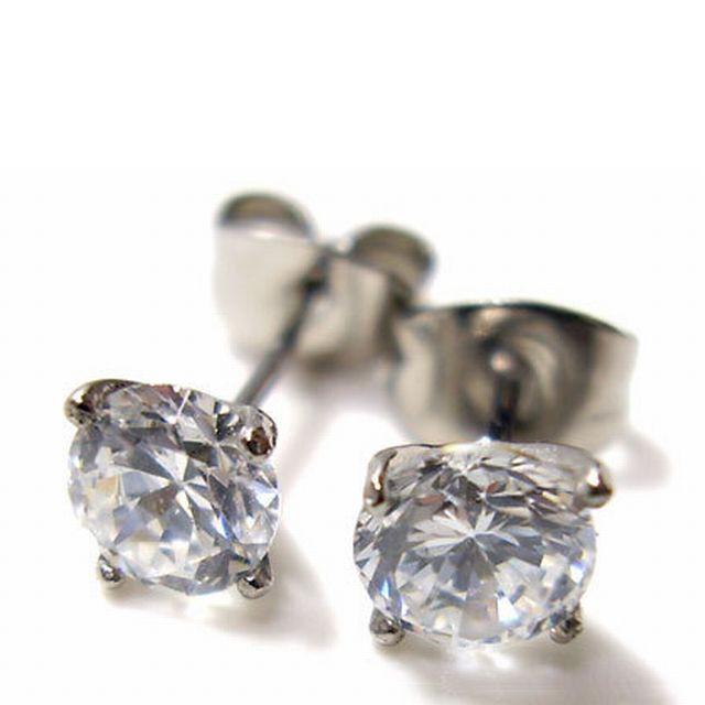 【ステンレスアクセサリー】幅0.2cm 1粒 CZ ダイヤモンド ピアス ステンレス 金属アレルギー対応 (esj801)