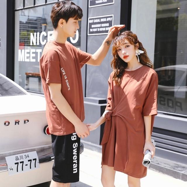 カップル ペアルック リンクコーデ  Tシャツ ワンピース  カジュアル お揃い 0567