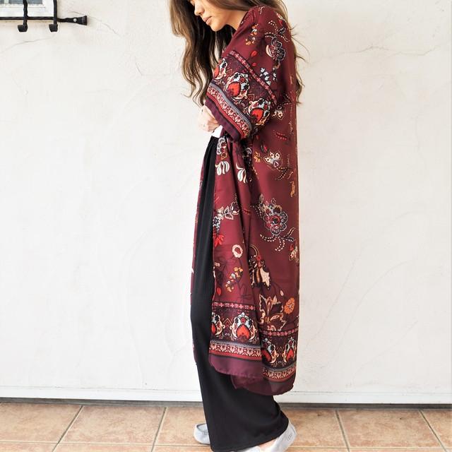 Chiffon Kimono Long Cardigan G《WINE》18383084-g