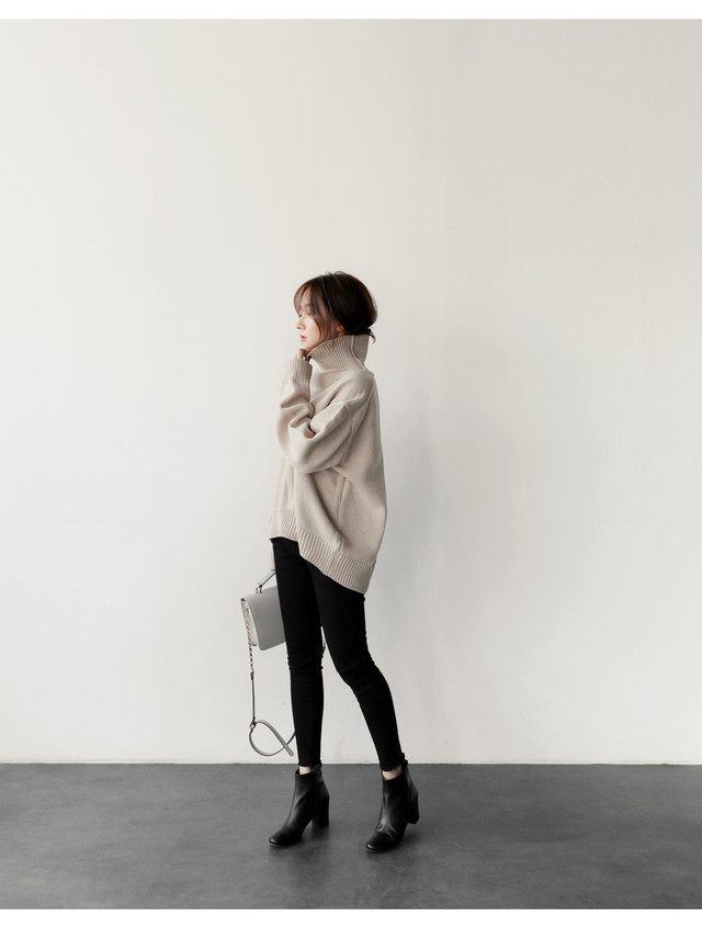 ゆったり着られる☆ロング袖タートルネックセーター
