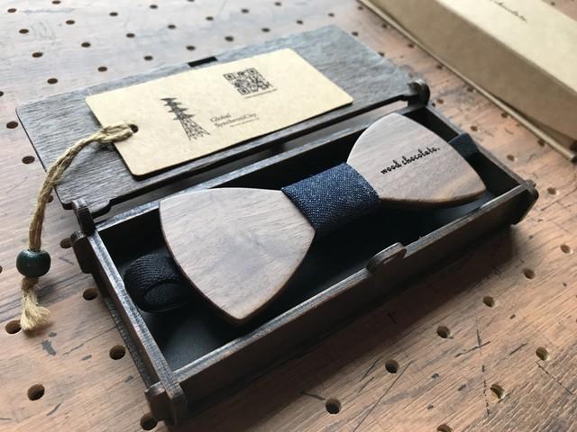 木製蝶ネクタイ #Denim walnut - メイン画像