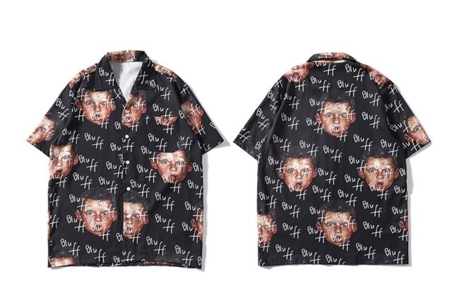 【売れ筋】bluデザインシャツ