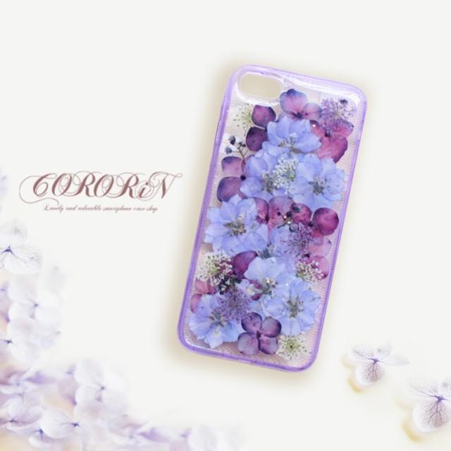 花物<紫陽花>ドライフラワー エレガントで上品な押し花UVレジン(SPCa0242)◆スマホケース/iPhoneケース