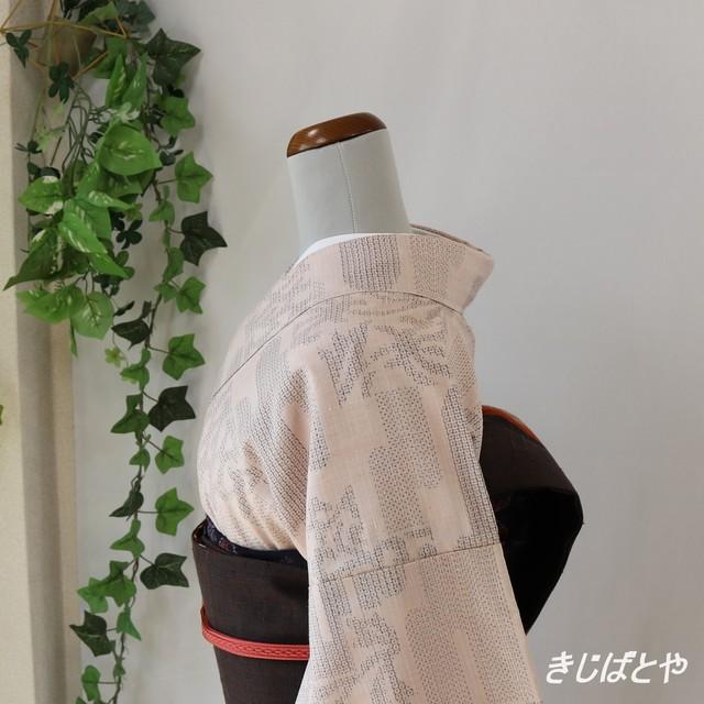 正絹紬 蘇芳におもちゃづくしの小紋 袷