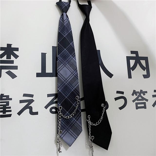 【アクセサリー】ファッション学園風金属飾りチェック柄マフラー35758753