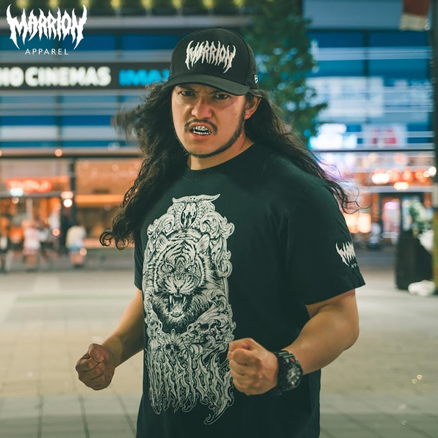 【Cotton100%】ahot×marrionapparel Tee「Tiger」 (Black×white)
