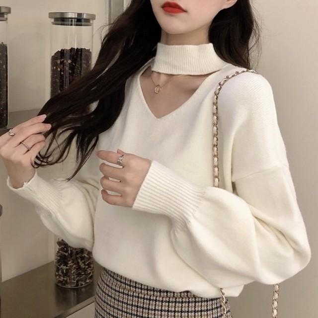 【トップス】美人度アップファッション切り替え透かし彫り無地ニットセーター37628727