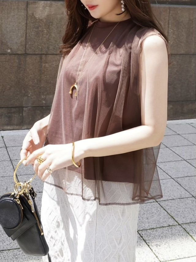 tulle layered tops / brown 5/20 21:00 ~ 再販 (即納)