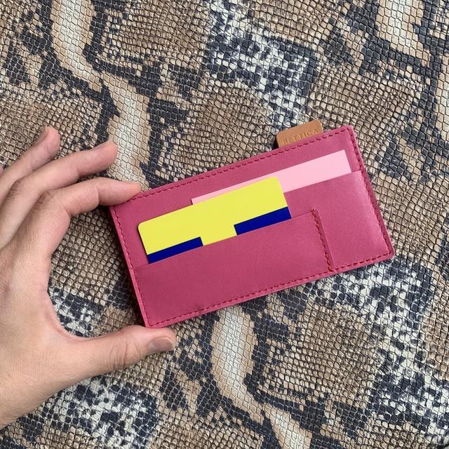 NEW【オールレザー】ロングウォレット用カード仕切りケース/ピンク