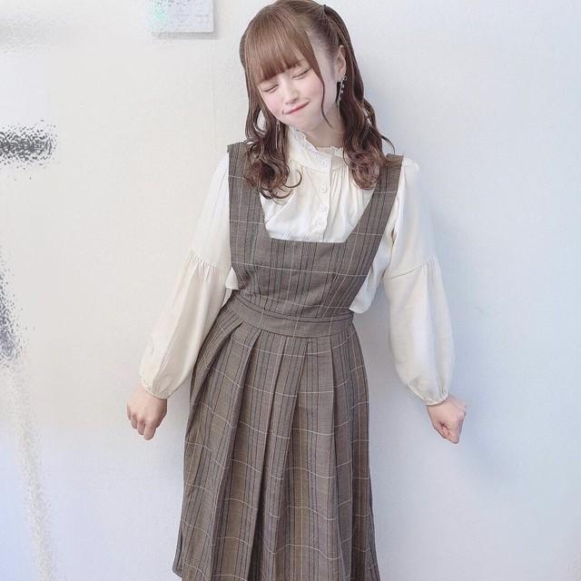 【葉月沙耶様着用】ガーリー♡ジャンパースカート×シフォンブラウス 嬉しい2点セット B0031