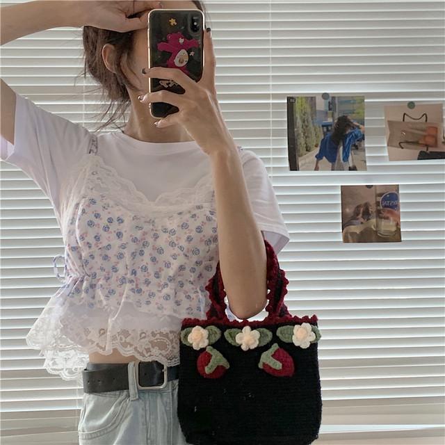 【人気急上昇アイテム】ふんわり花柄キャミ+Tシャツセット