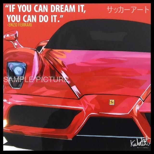 【51*51cm 特大サイズ】 グラフィックアートパネル エンツォ・フェラーリ 輸入車デザイン 木製インテリア ポスター (004-068)