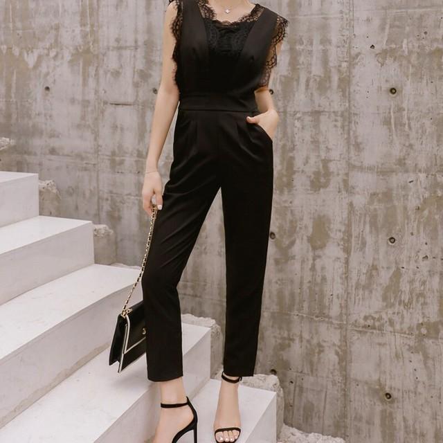 <即納>豪華レース オールインワン ブラック パンツドレス