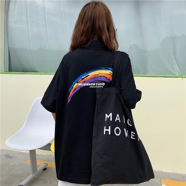 【トップス】流行り韓国系POLOネックプリント落書きプルオーバーTシャツ41876036