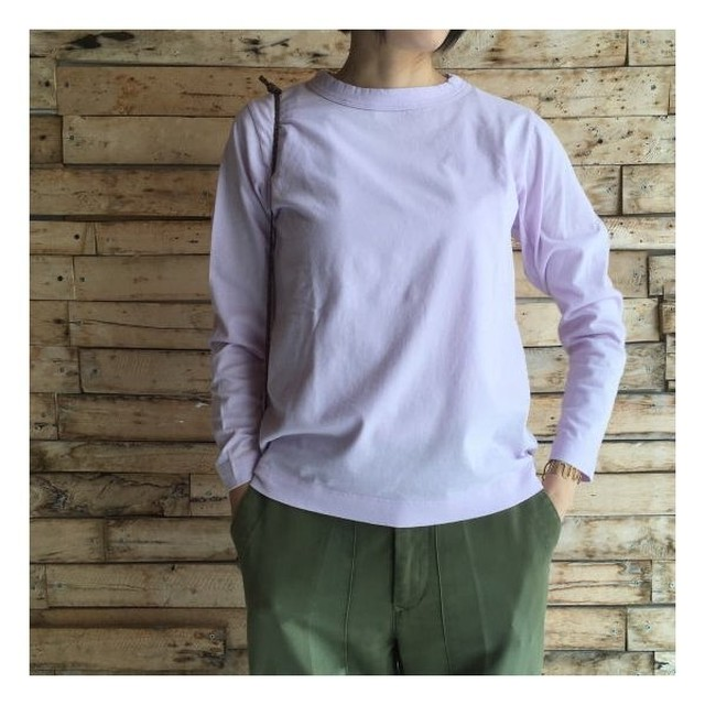 homspun (ホームスパン) 天竺長袖Tシャツ ピンク