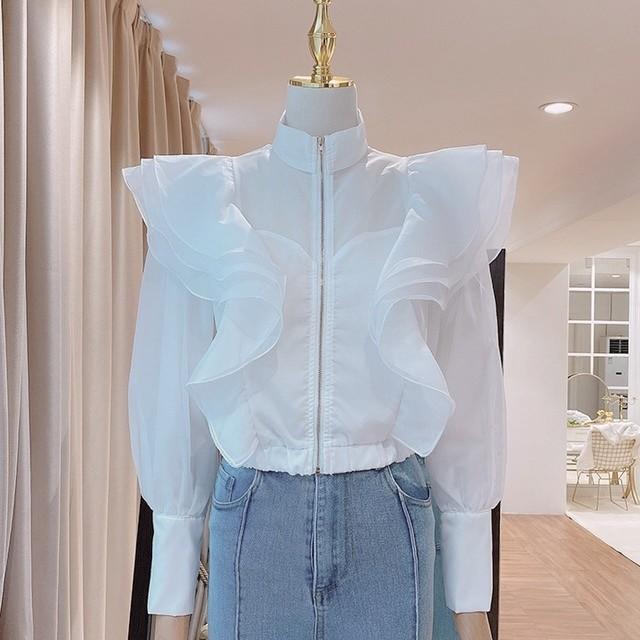 sheer frill jacket