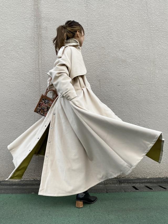 Drape Design colorステンカラー longCT/off-white×pistàcchio