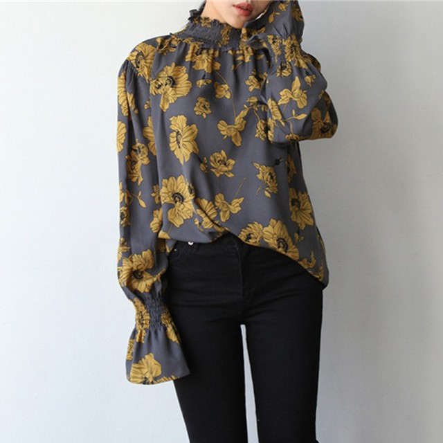 【tops】Fashion design off shoulder print shirt