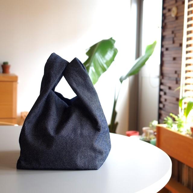 うしじま縫製 | 武州正藍染 手提げバッグ 小 一重刺子