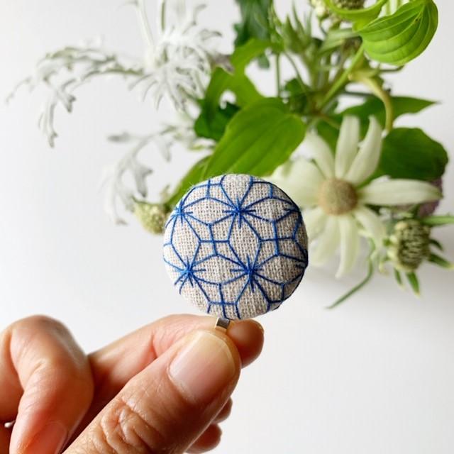 刺し子ポニーフック:「紫陽花刺し」 created by hako