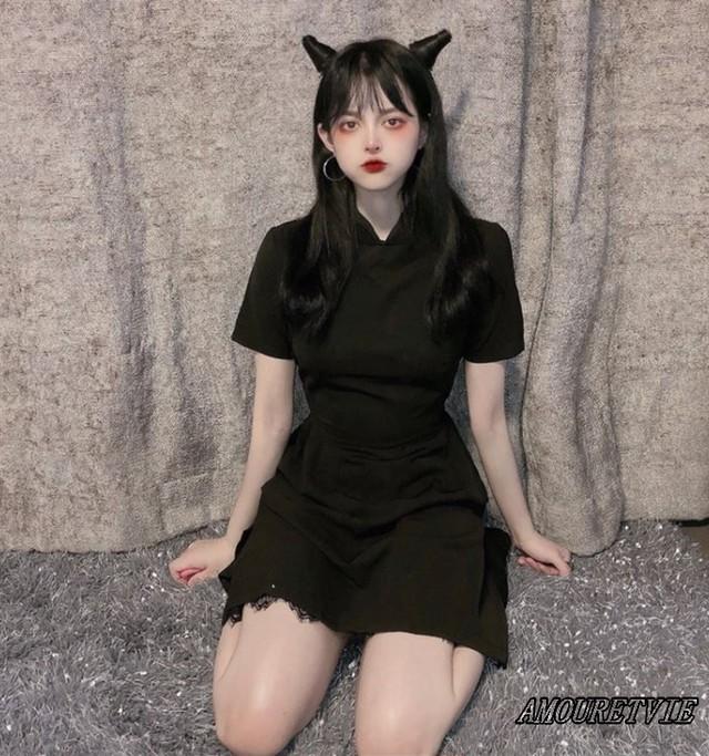 ワンピース ドレス チャイナドレス風 チュニック スタイリッシュ 黒 ブラック セクシー オルチャン 韓国ファッション 781