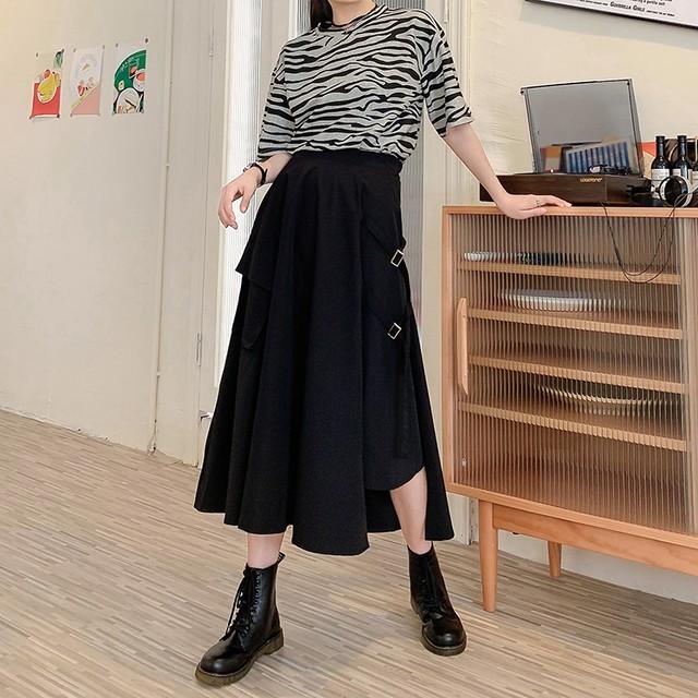 不規則デザイン スカート スプリットスカート アシンメトリー 韓国ファッション レディース ロングスカート アシメ Aライン バックル ハイウエスト シンプル ガーリー (DTC-623466402690)