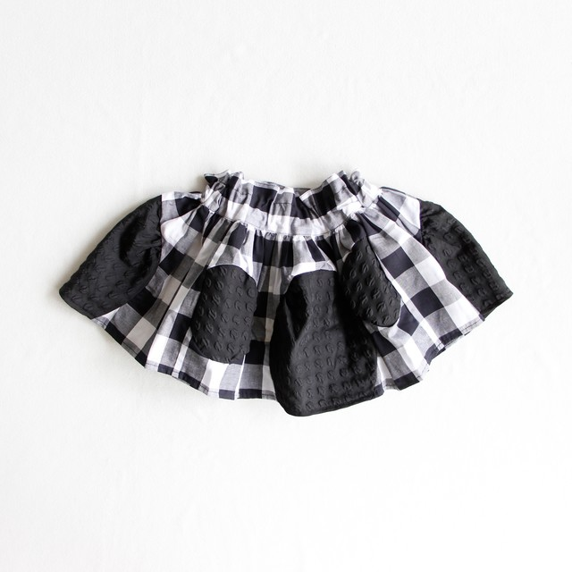 《frankygrow 2019AW》SWITCHING DOTS DM SKIRT / black check / LL