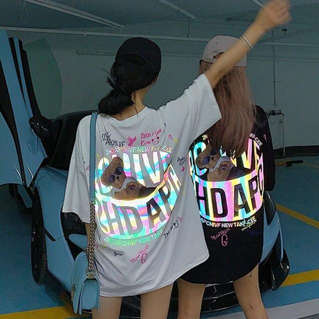 【トップス】反射クマ図柄キュートカジュアルTシャツ30161767