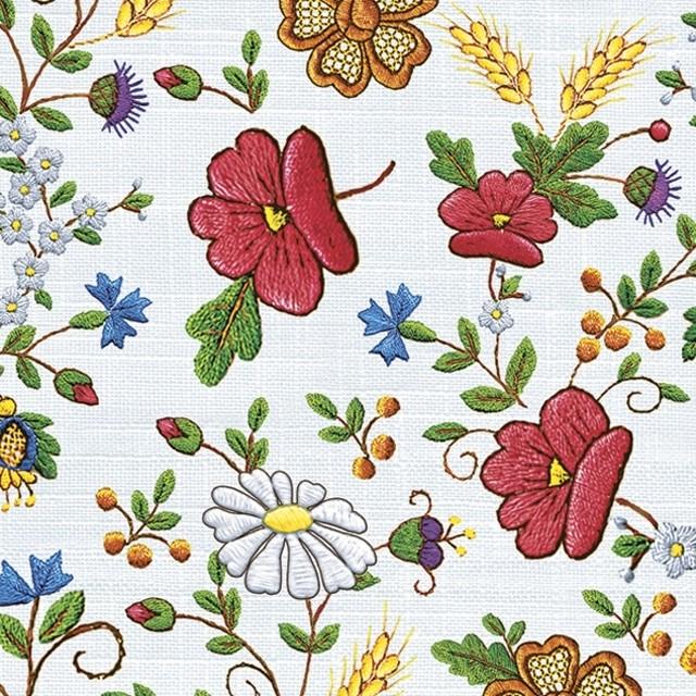 新入荷【Daisy】バラ売り2枚 ランチサイズ ペーパーナプキン Kashubian Tablecloth ホワイト
