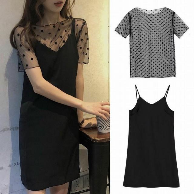 レディース セットアップ キャミワンピース ドット柄レースTシャツ 韓国ファッション オルチャン / Chic Slim V-neck Dress + Polka Dot Lace Shirt (DCT-594511918356)
