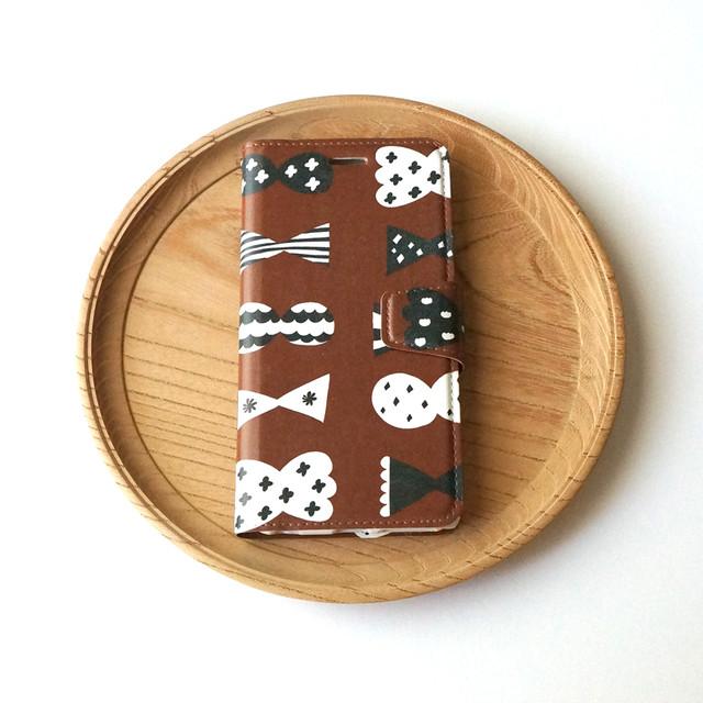 candy butterfly ( brown × black ) 手帳型スマホケース【受注生産】 ★ Lサイズは+400円