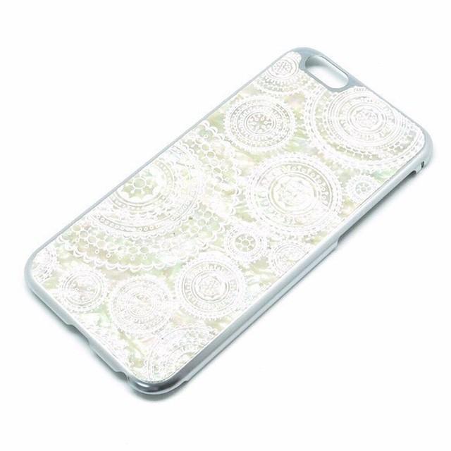 iPhone6/iPhone6s 天然貝ケース(合金チタンシルバー・ホワイトレース)<螺鈿アート>
