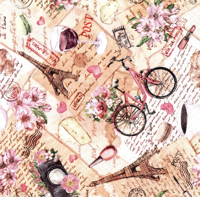 【ti-flair】バラ売り2枚 ランチサイズ ペーパーナプキン Voyage a Paris ピンク