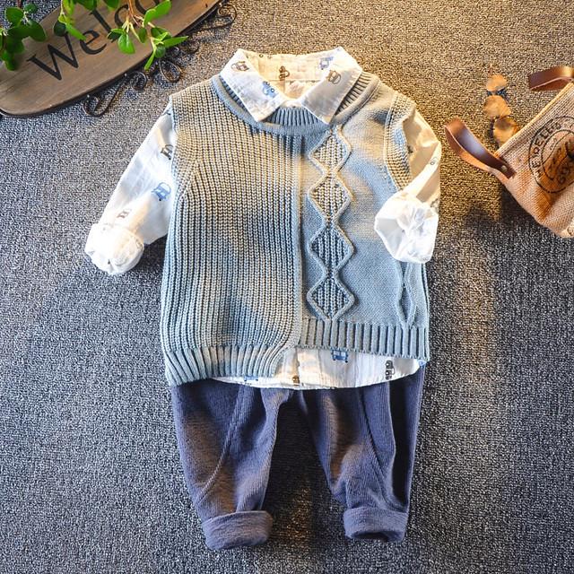 【セット】合わせやすいカートゥーン小柄折り襟プルオーバーニット子供服ボーイズ三点セット24652533