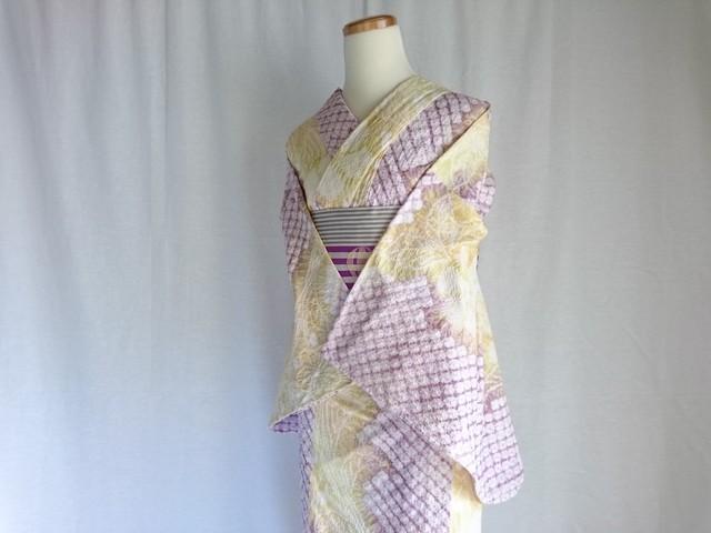【K-39】  丈168 裄68 黄色と紫のグラデーション 大きいサイズ  総絞り 浴衣 リサイクル