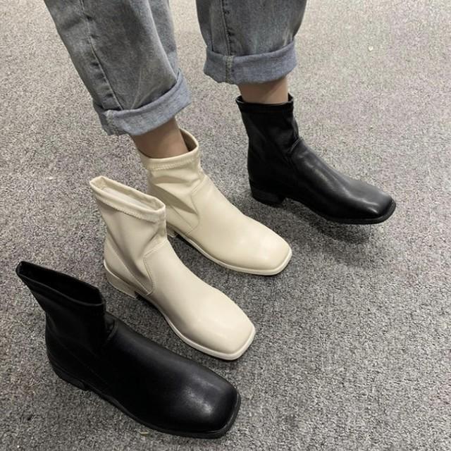 ハイカット ブーツ シンプル 無地 2色 B2401