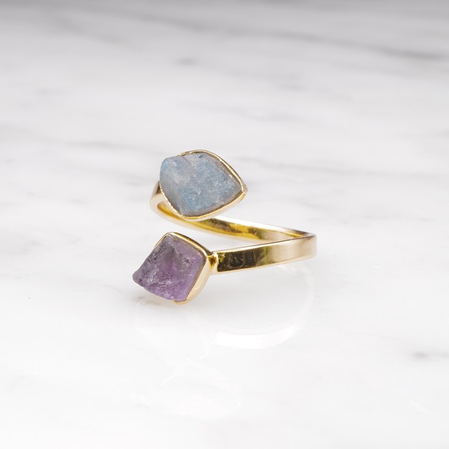 DOUBLE DIFFERENT STONE OPEN RING 001