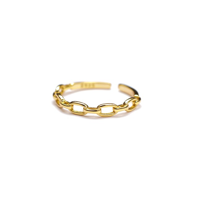 S925 ADJUSTABLE CHAIN RING GOLD 02
