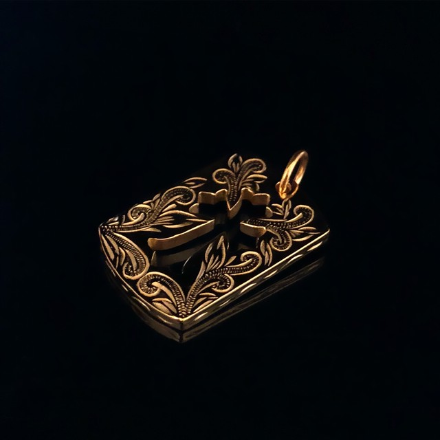 24kgp Hawaiian jewelry dogtag (large cross )