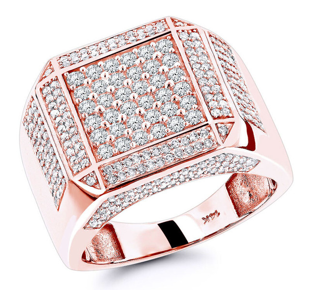 14K ROSE GOLD MENS DIAMOND RING 1.83CT