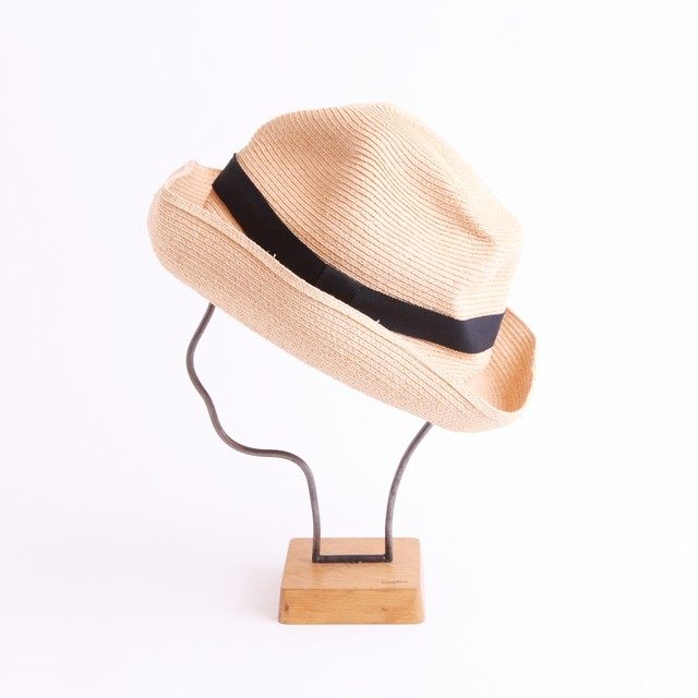 mature ha./BOXED HAT 401 natural×black 25mm ribbon