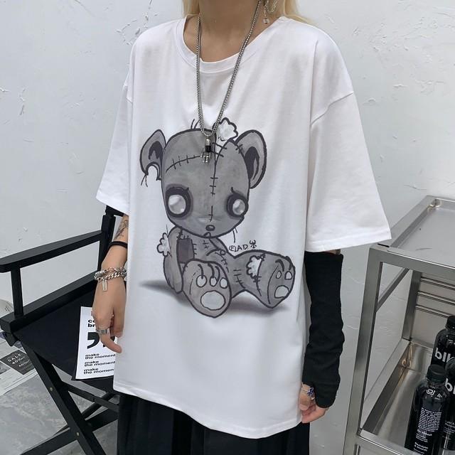 レディース タッチベアー Tシャツ 可愛いクマプリント ゆったり 半袖 インスタ映え 韓国ファッション オルチャン ホワイト ピンク / In loose touch bear print T-shirt (DCT-597818166705_a)