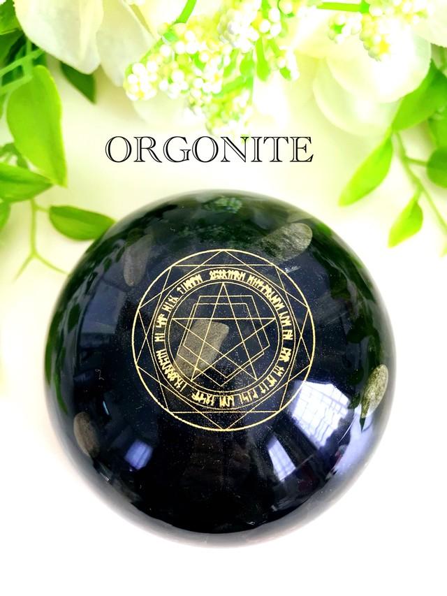 オブシディアン&イヤシロチパウダー【ネガティブエネルギーの防御】ドーム型オルゴナイト・248(8cm)