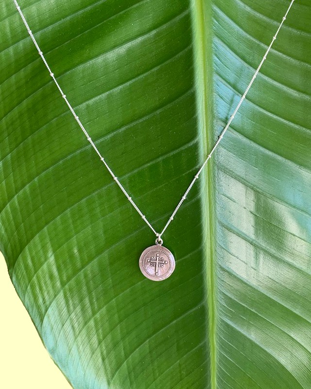 Silver coin necklace / on the beach       OBH-011