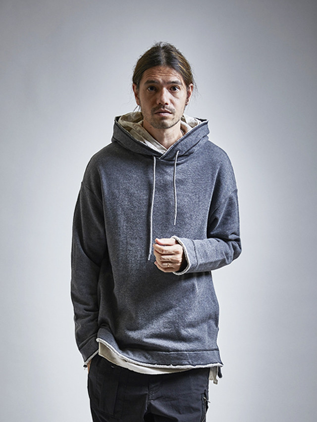 EGO TRIPPING (エゴトリッピング) LAYERED HOODED SWEAT / moku.CHARCOAL 663357-03