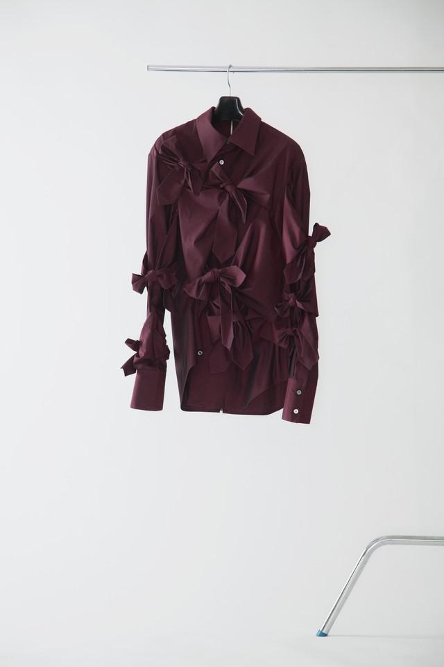 【FW20 先行受注】brummell shirt ( cotton typewriter) 〈burgundy / white / black〉