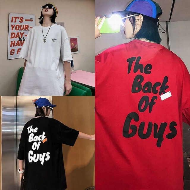 ユニセックス 半袖 Tシャツ メンズ レディース ワンポイント 英字 バックプリント オーバーサイズ 大きいサイズ ルーズ ストリート TBN-616018665117
