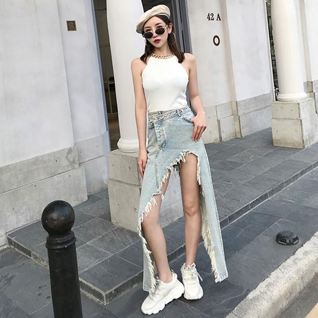 【ボトムス】ダメージ加工不規則ファッションデニムスカート31290418