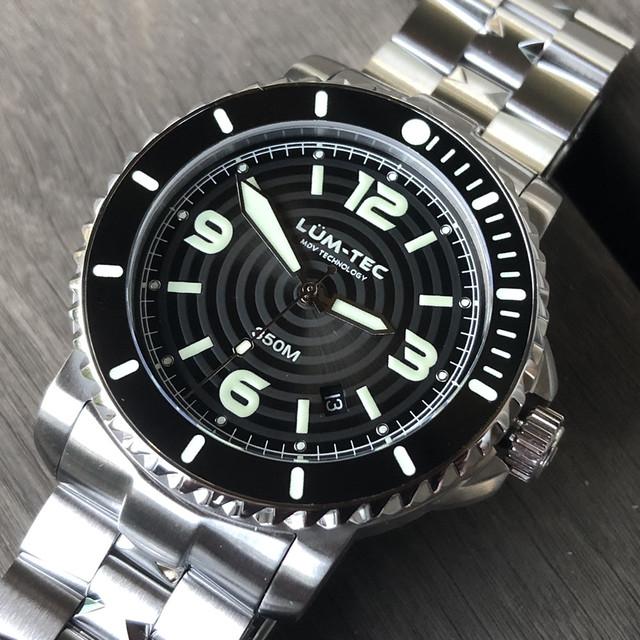 【世界限定100本】LUM-TEC/ルミテック 350M-1 ブラック 43MMケース 316Lステンレス 自動巻き スイス製 Sellita SW200ムーブメント採用 350M防水 ダイバーズウォッチ メンズウォッチ 腕時計